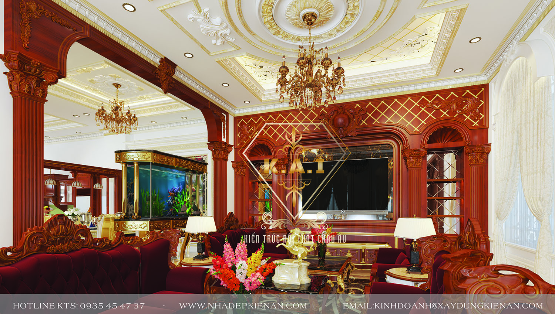 Thiết kế nội thất cổ điển biệt thự phong cách Châu Âu