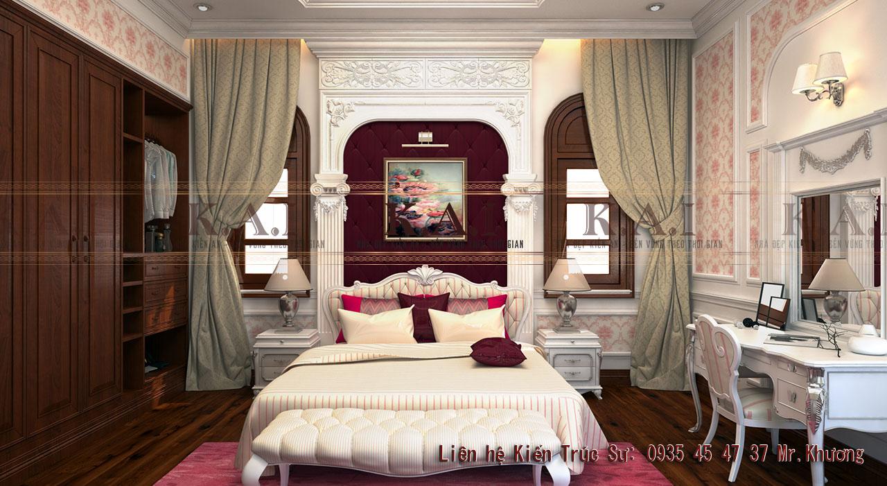 Thiết kế phòng ngủ 27m2 cổ điển Pháp
