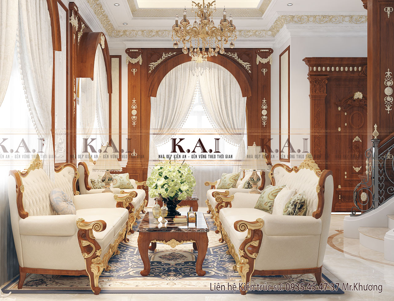 Phòng khách cổ điển trong biệt thự