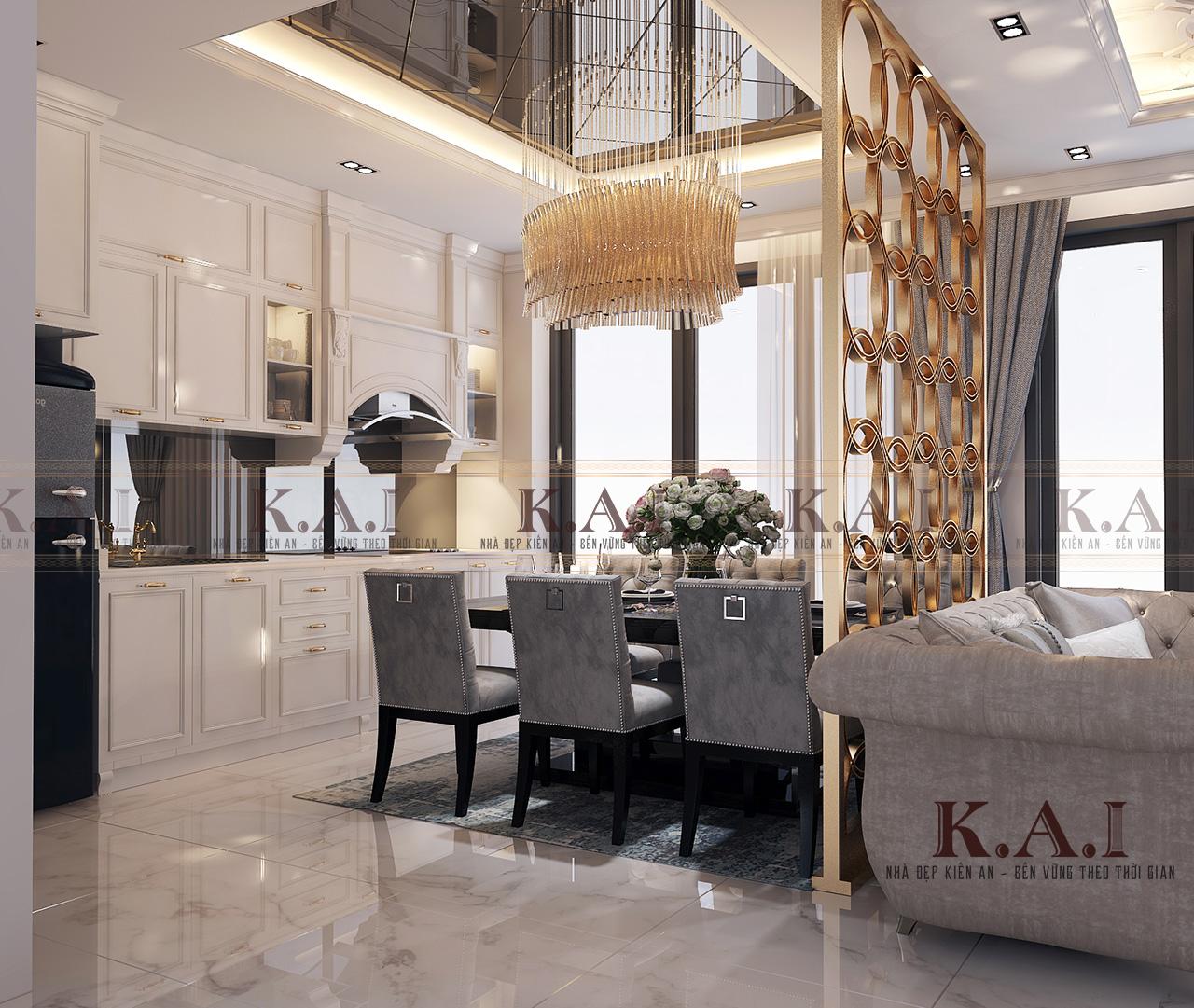 Không gian khu bếp trong thiết kế nội thất căn hộ 110m2