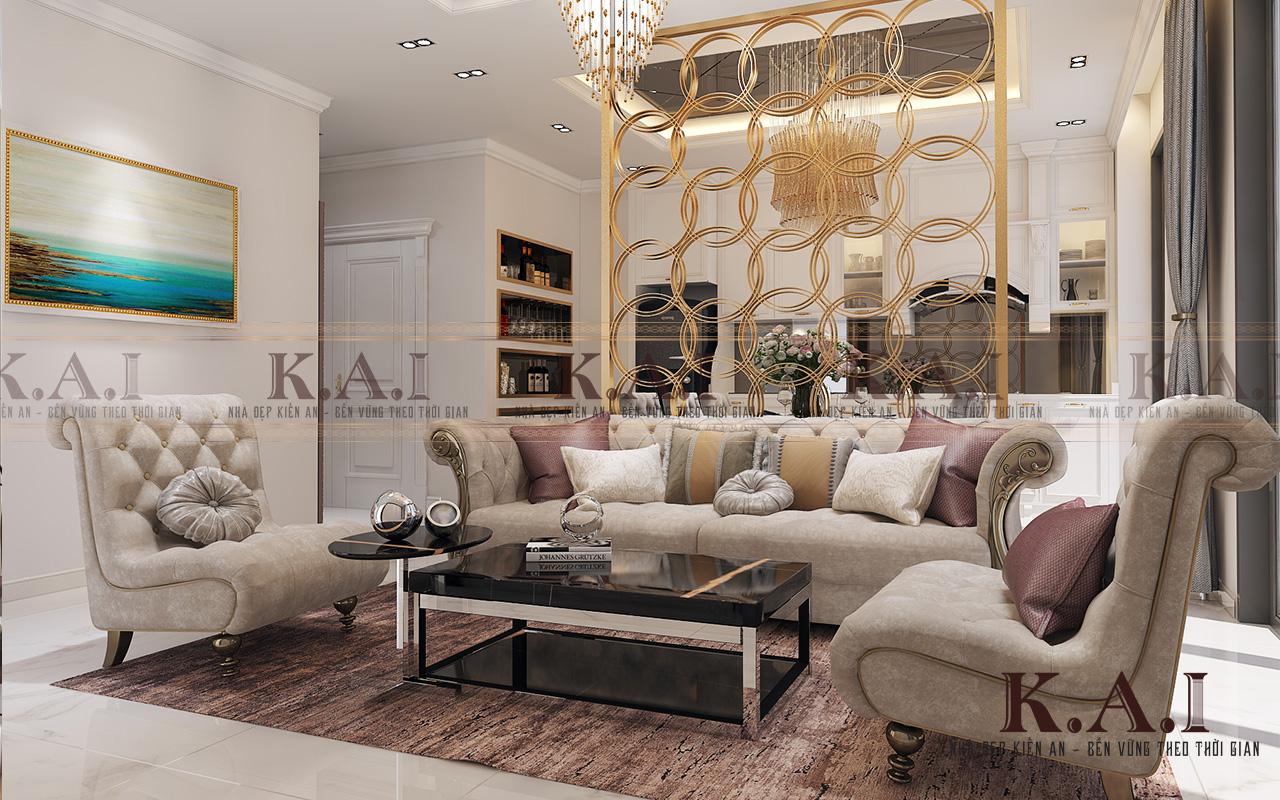 Không gian phòng khách trong thiết kế nội thất căn hộ 110m2