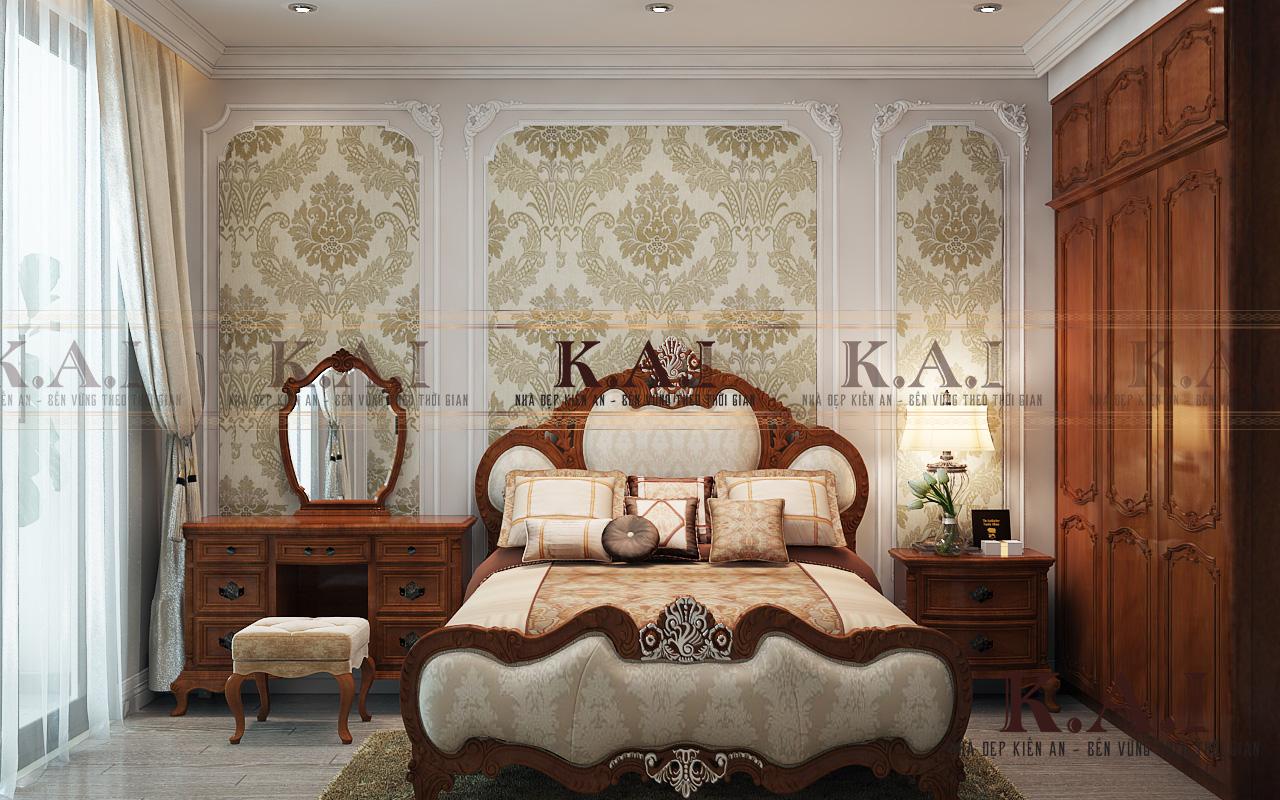 View chính phòng ngủ chính trong thiết kế nội thất căn hộ cao cấp