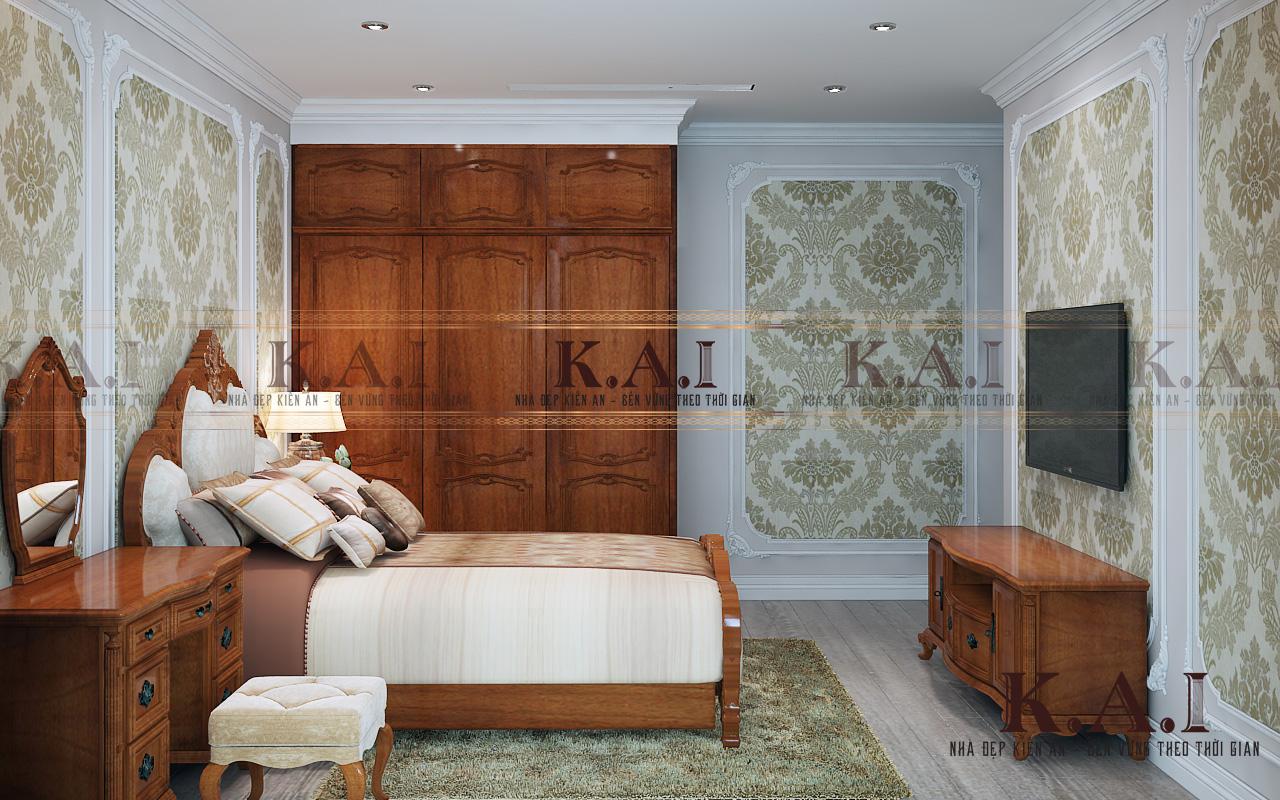 Không gian phòng ngủ chính trong thiết kế nội thất căn hộ cao cấp