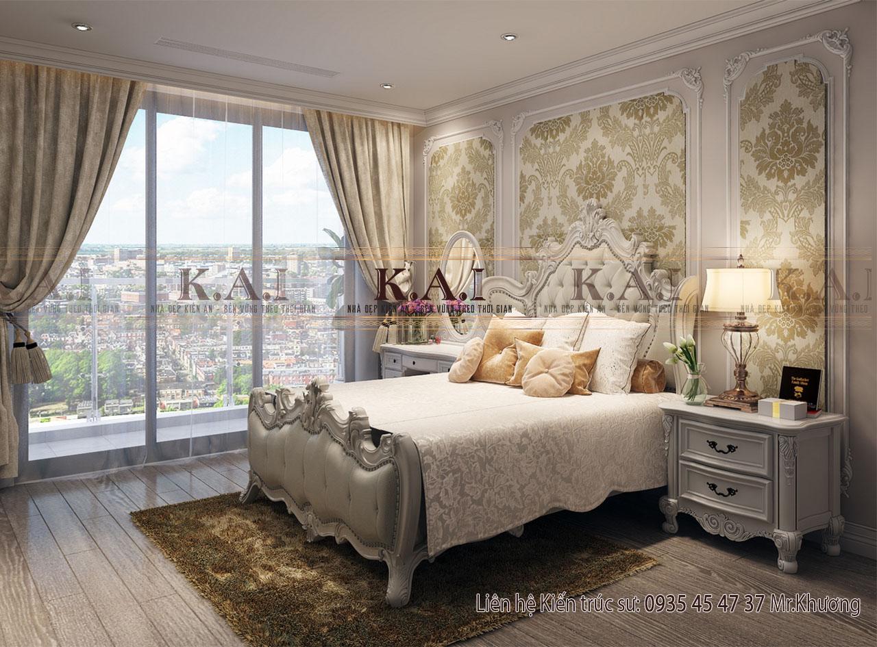Phòng ngủ master trong thiết kế nội thất căn hộ 110m2