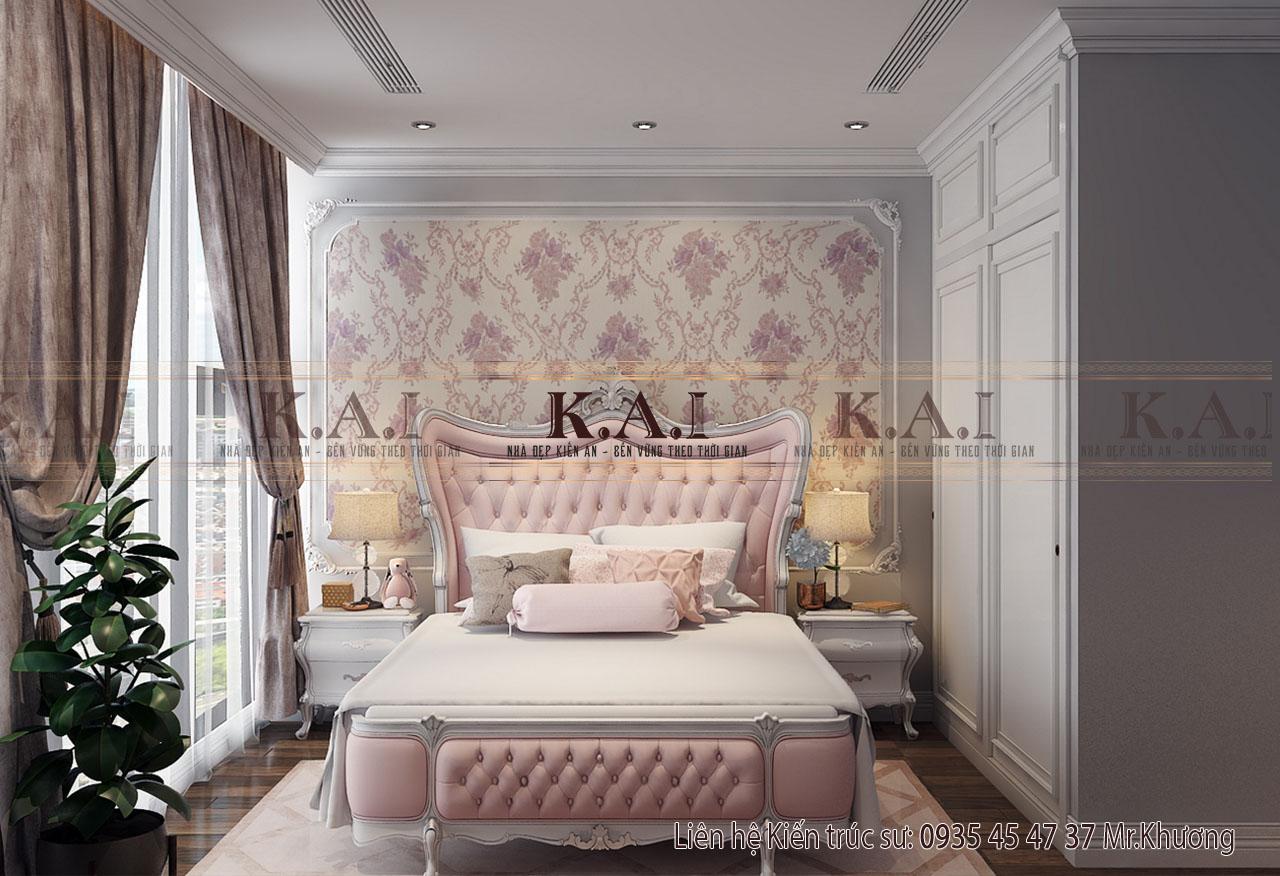 Phòng ngủ con gái trong thiết kế nội thất căn hộ 110m2
