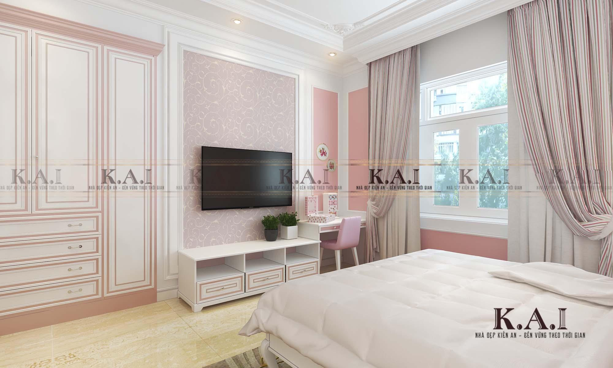 Góc nhìn qua ô cửa trong mẫu thiết kế nội thất phòng ngủ tân cổ điển BTPN 01