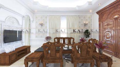 Không gian nội thất sang trọng trong mẫu phòng khách tân cổ điển PKBT01 kết hợp vật liệu gỗ tại Đồng Nai
