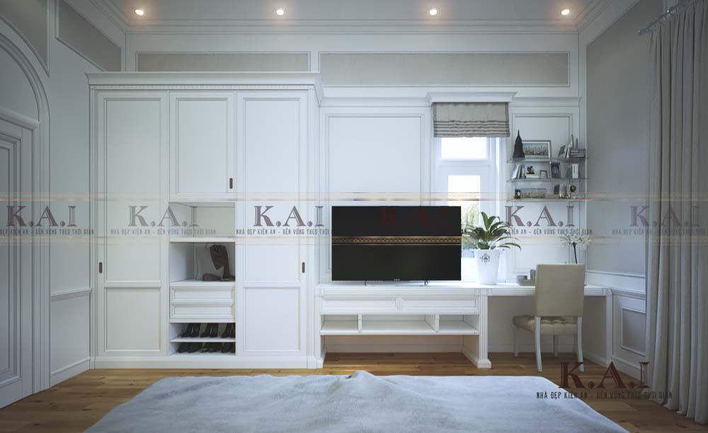 thiết kế nội thất phòng ngủ tân cổ điển PNBT03