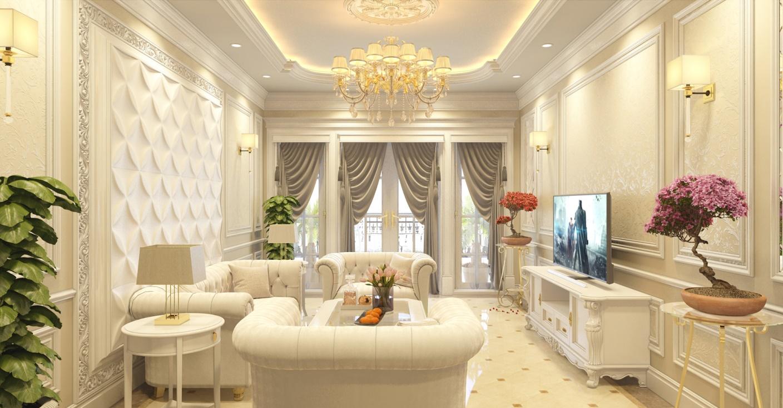 Chất liệu nội thất và màu sắc trong thiết kế nội thất phong cách tân cổ điển