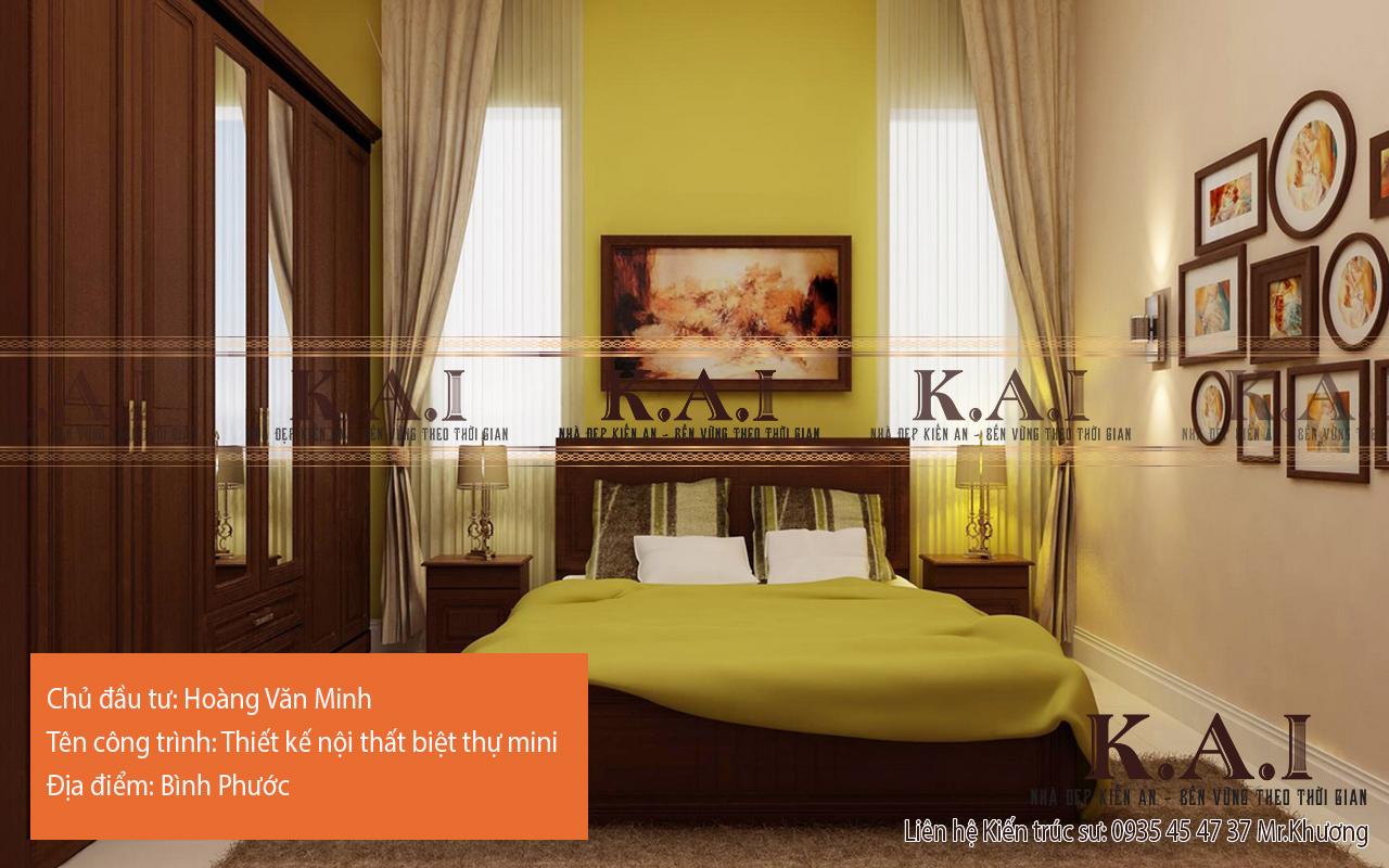 Phòng ngủ master với tông xanh lục