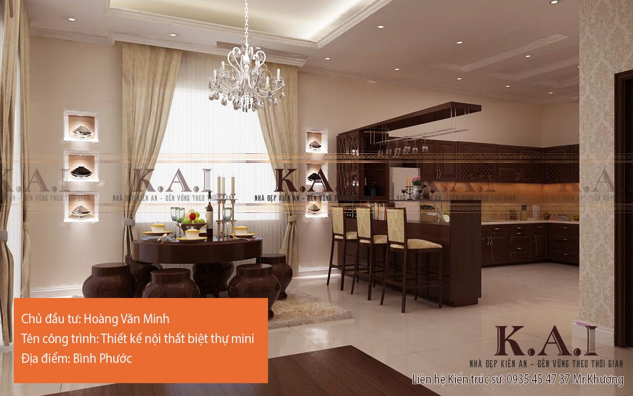 Phòng bếp và phòng ăn kết hợp với thiết kế độc đáo