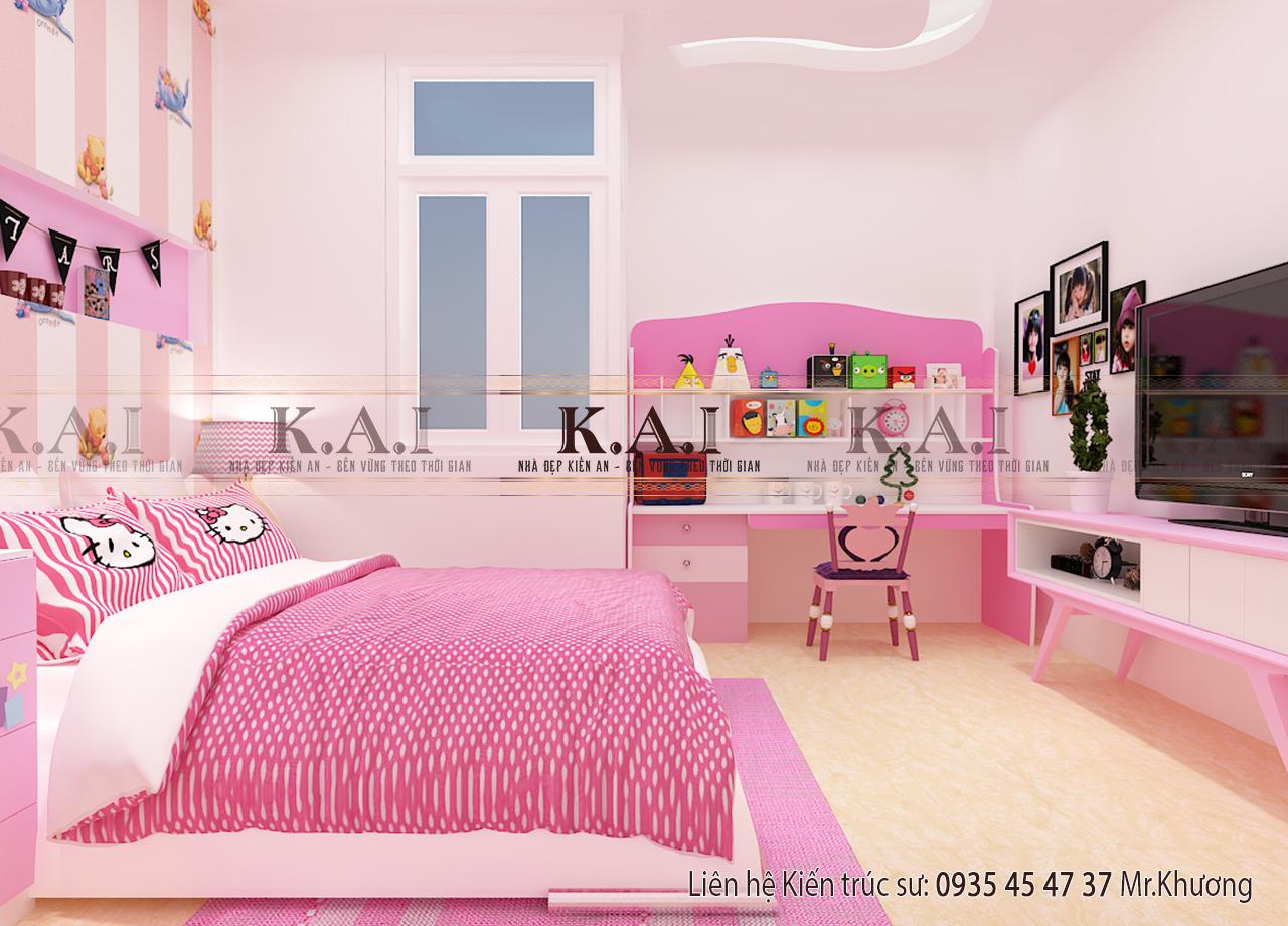 Thiết kế nội thất phòng ngủ nữ tính