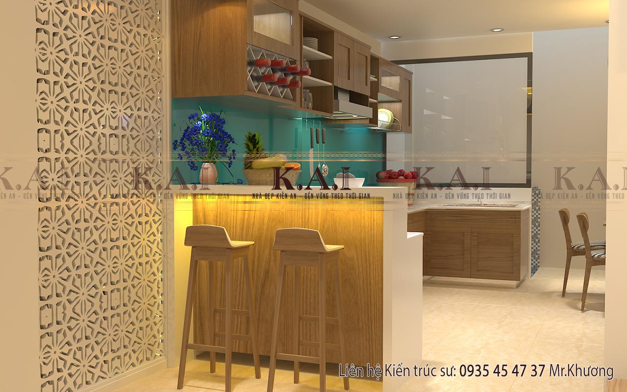 Mẫu thiết kế nội thất phòng bếp nhà ống mặt tiền 4m