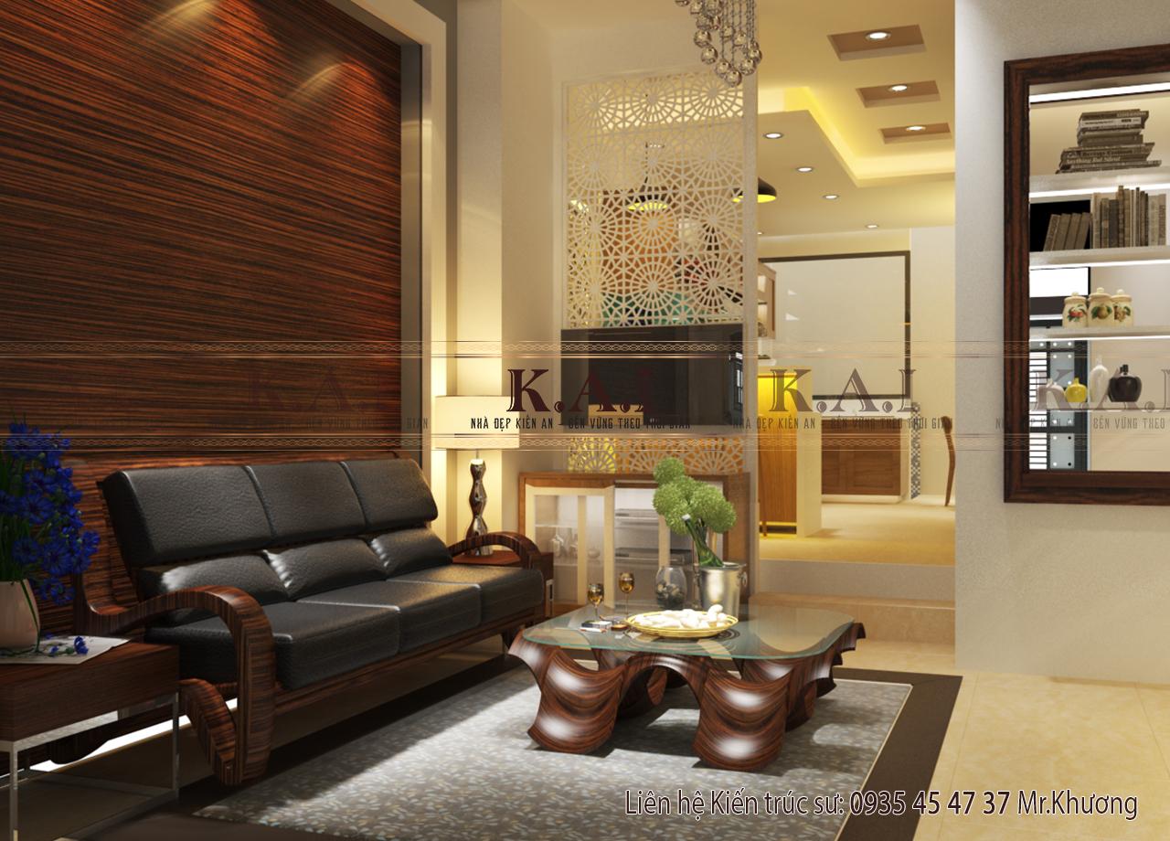 Mẫu thiết kế nội thất phòng khách nhà ống mặt tiền 4m