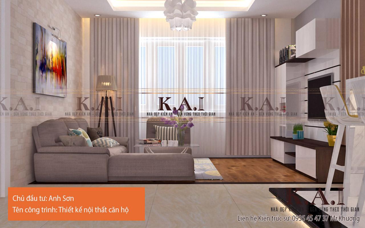 Phòng khách căn hộ anh Sơn được cấu trúc lại khoa học