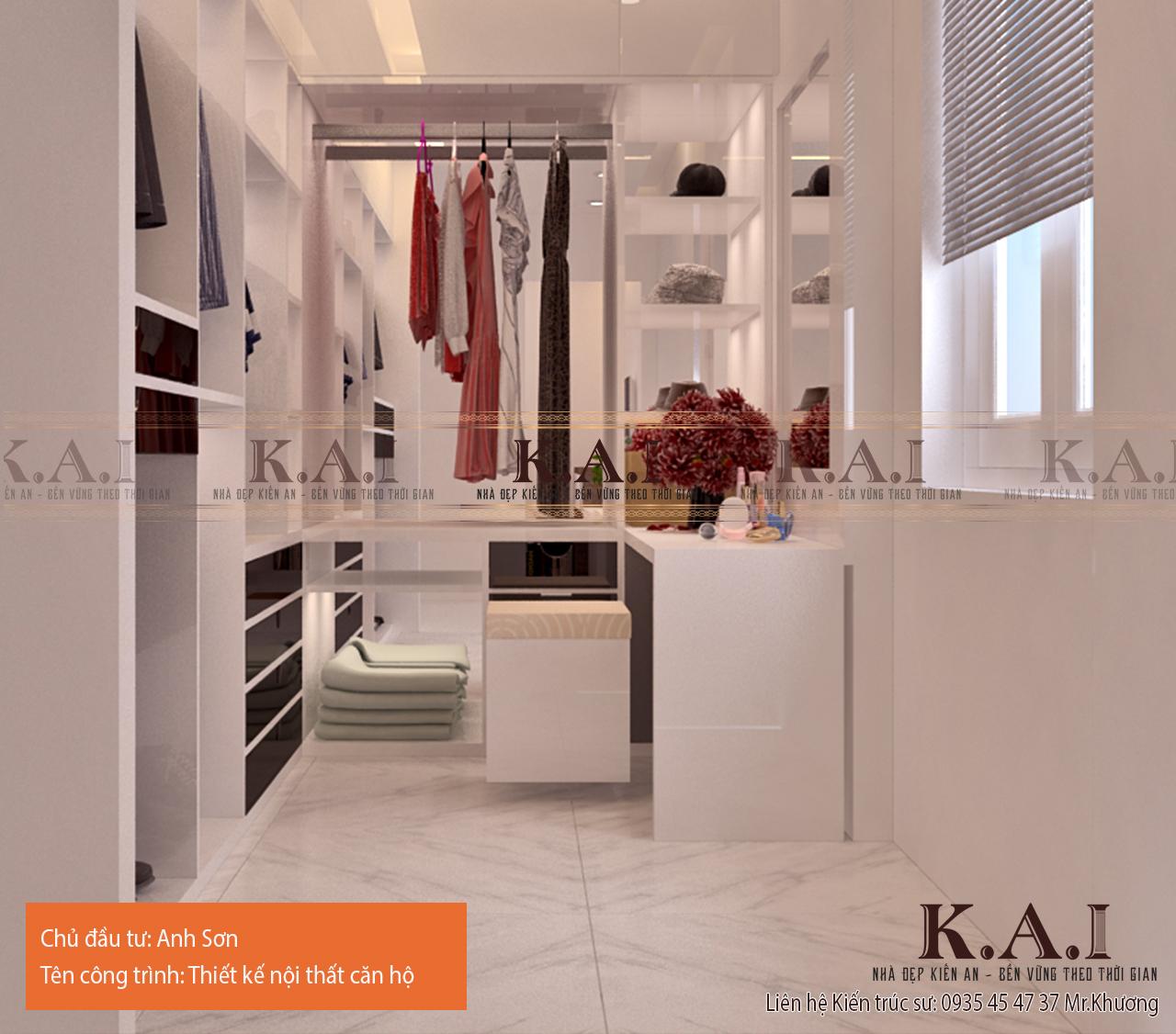 Tối ưu phòng thay đồ trong thiết kế căn hộ