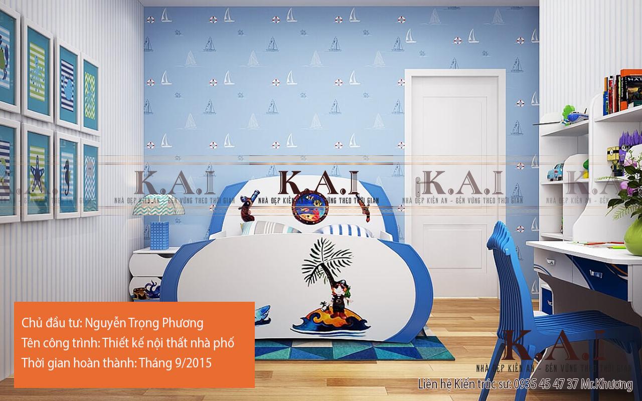 Phòng ngủ con trai thiết kế đáng yêu và sinh động