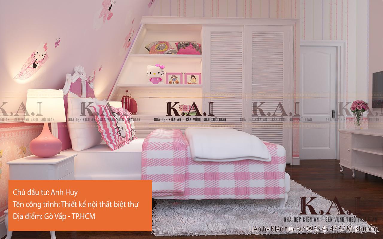Thiết kế nội thất trong phòng ngủ con gái