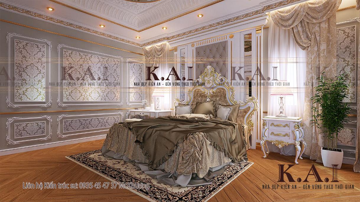 Phòng ngủ phong cách cổ điển trang hoàng xa hoa và tiện nghi