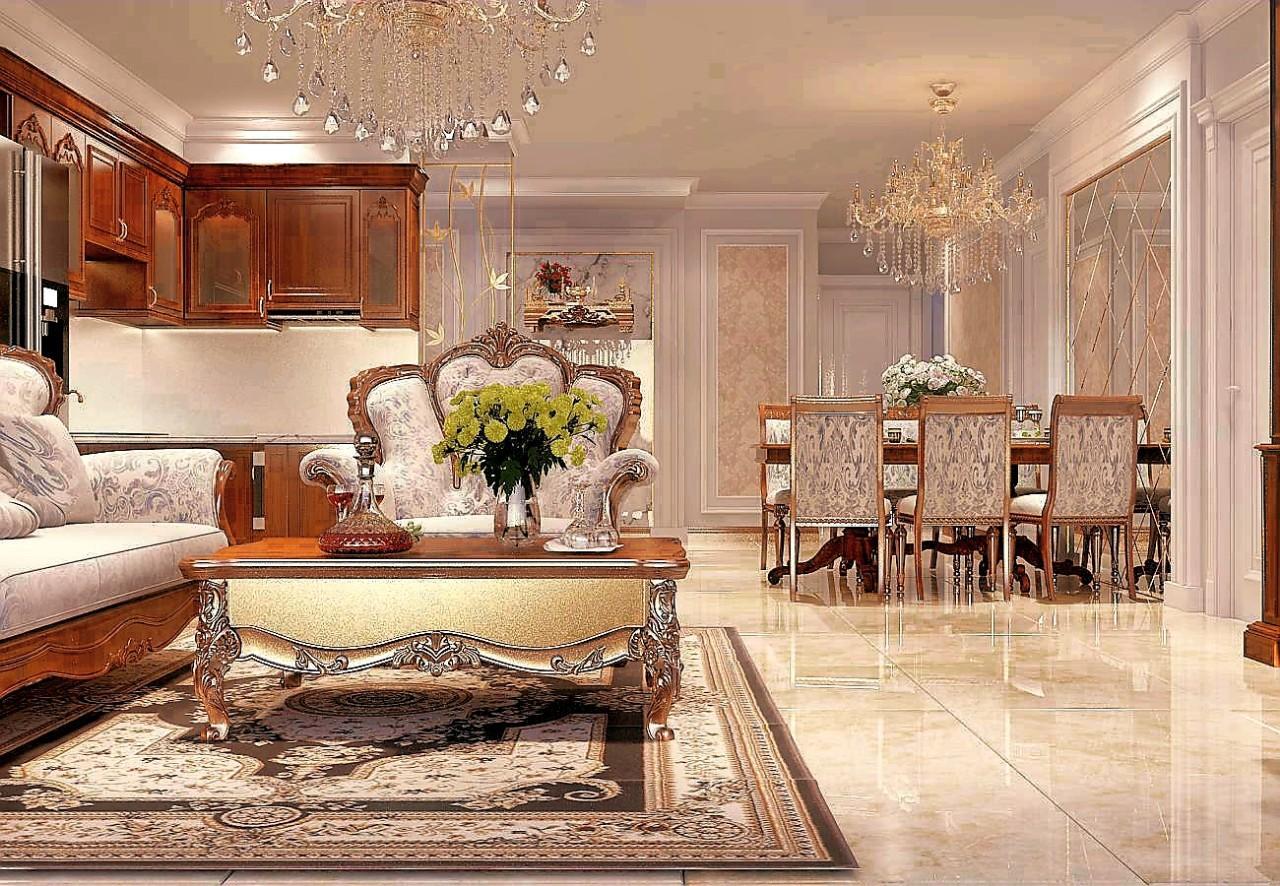 Phong cách cổ điển với mẫu thiết kế nội thất căn hộ cao cấp