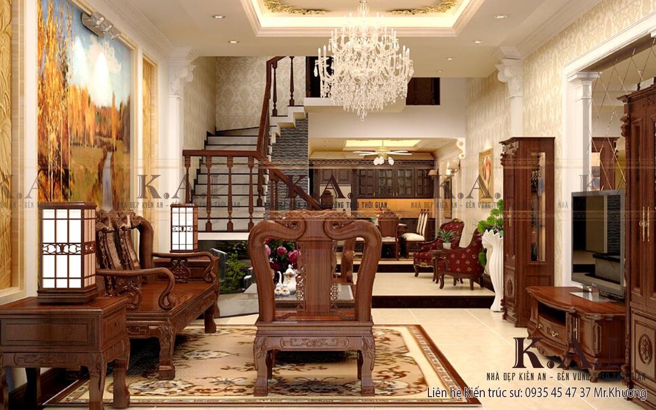 Trang trí nội thất bằng gỗ làm tôn lên sự quyền quý trong kiến trúc tân cổ điển