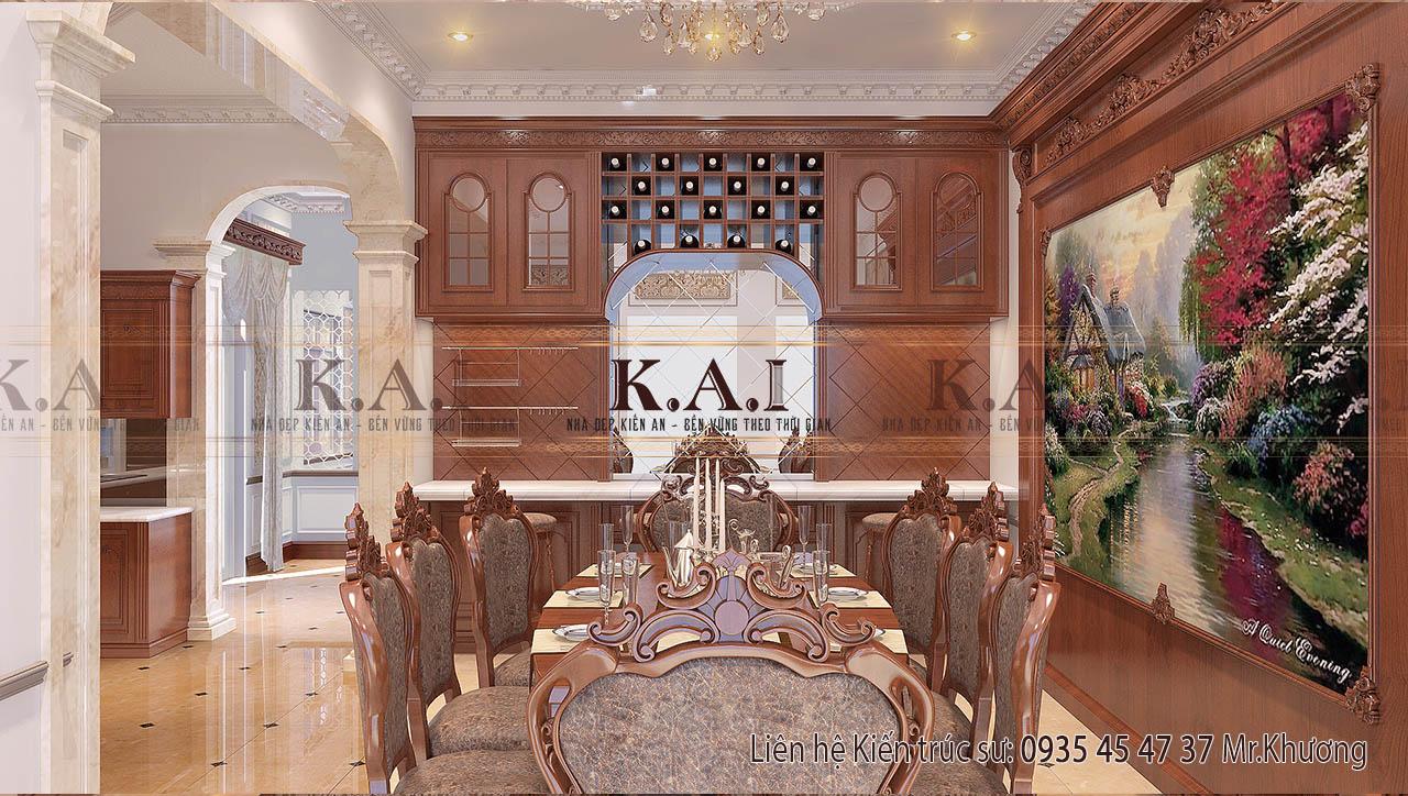 Lộng lẫy với bàn ăn cổ điển châu Âu của biệt thự ở Long An
