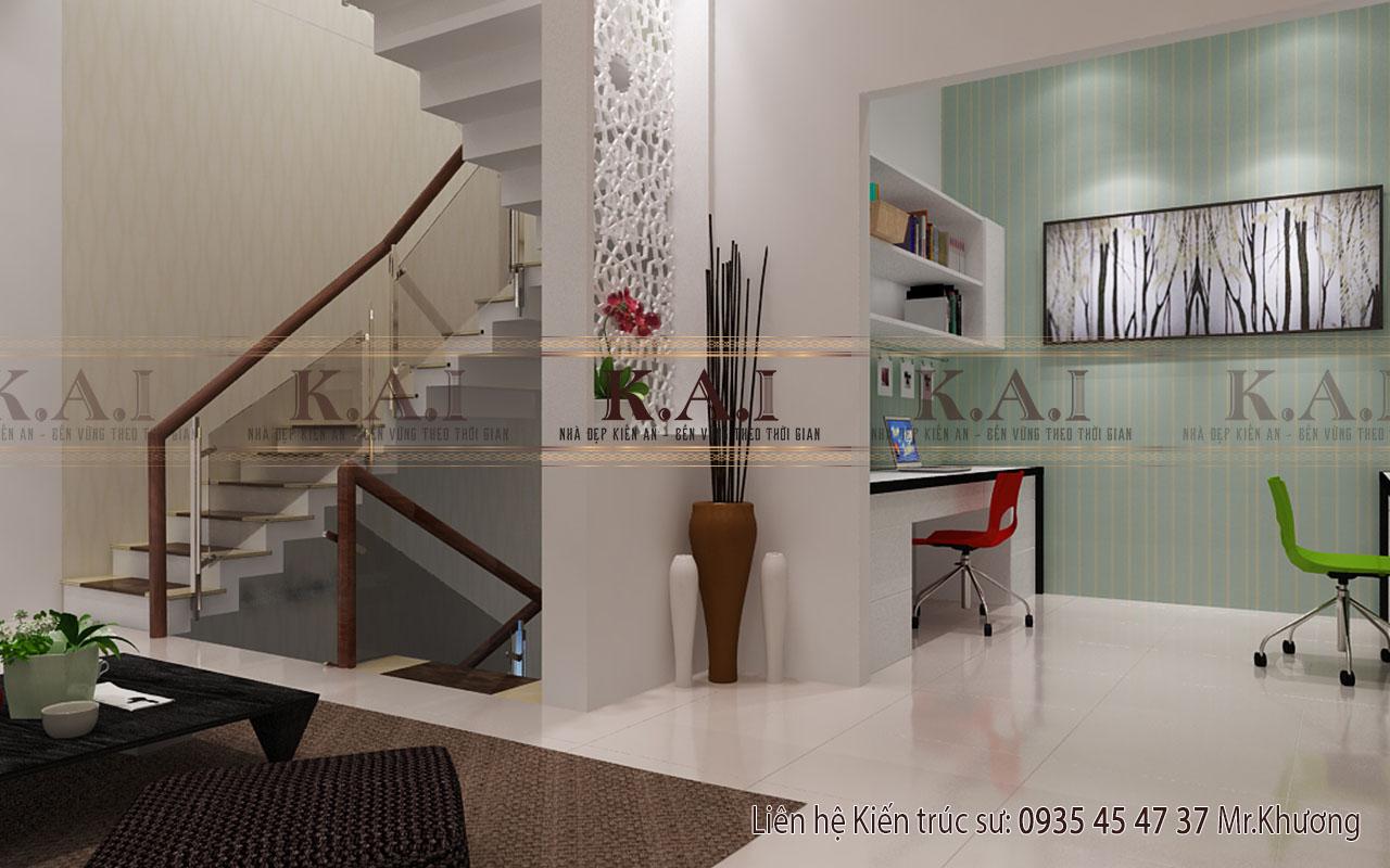 Phòng học tập trong mẫu thiết kế nội thất biệt thự hiện đại