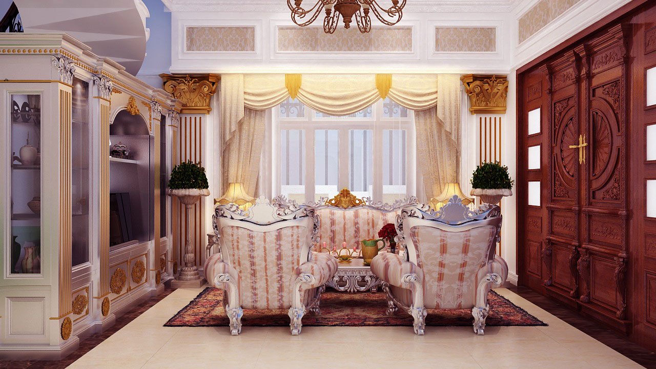 Mẫu thiết kế nội thất cổ điển trong biệt thự chị Kim Cương
