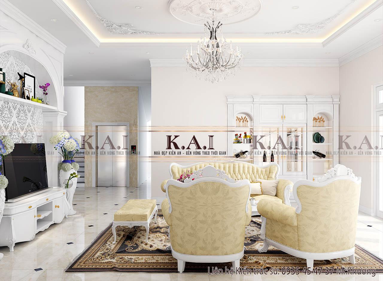 Thiết kế nội thất nhà biệt thự 2 tầng đơn giản tại Long An