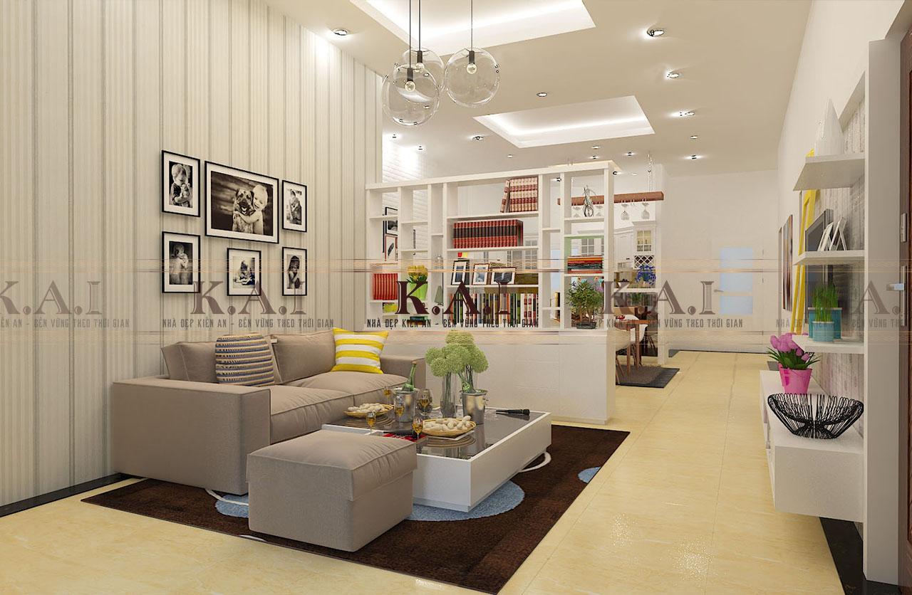 Mẫu thiết kế nội thất nhà cấp 4 của vợ chồng trẻ ở Đồng Nai-phòng khách