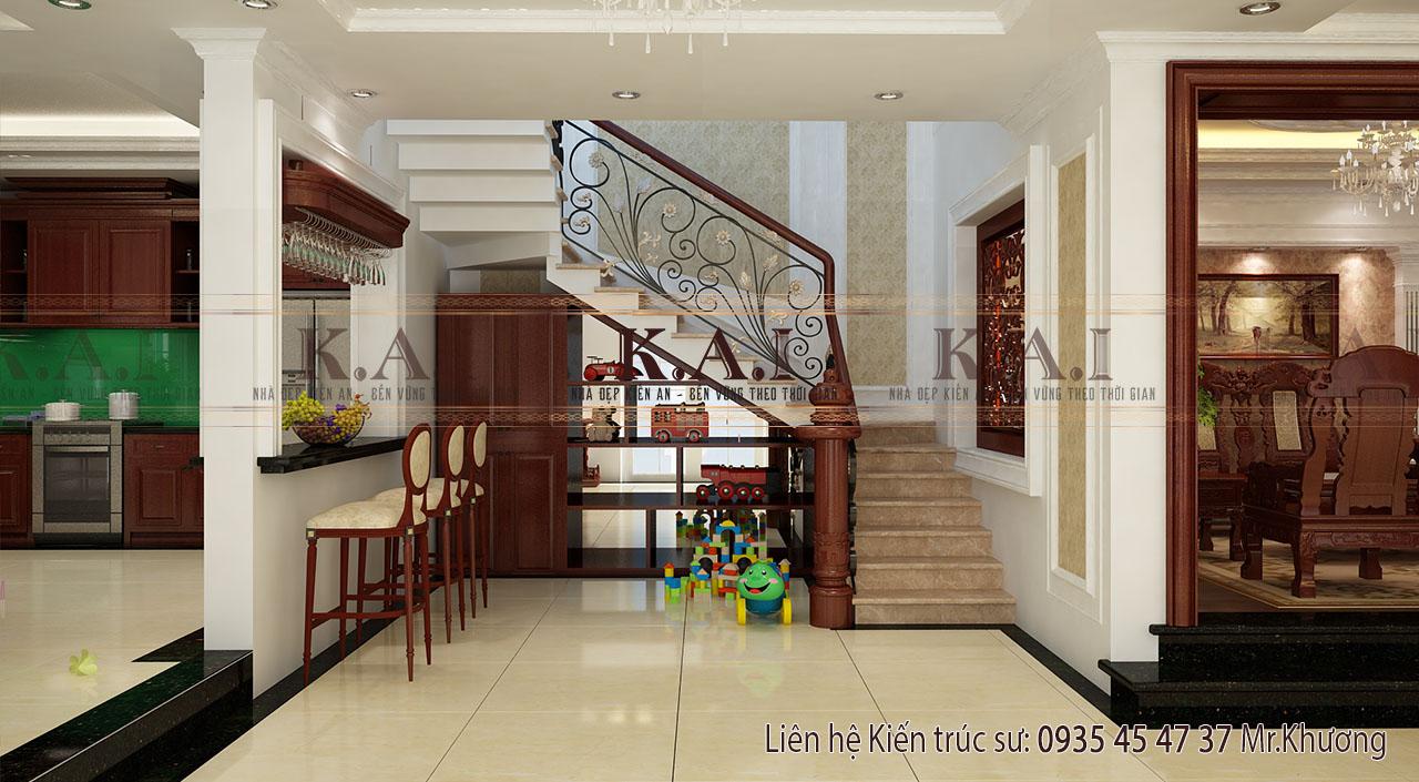 Bếp và phòng khách với thiết kế nội thất sang trọng