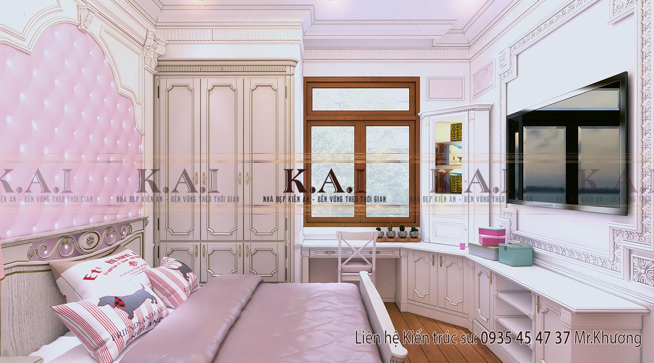 Thiết kế nội thất phòng ngủ bé gái sang trọng
