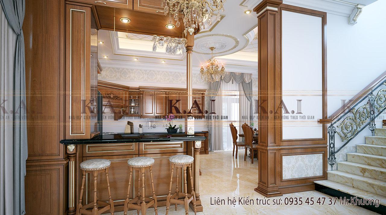 thiết kế nội thất cho nhà biệt thự - phòng bếp