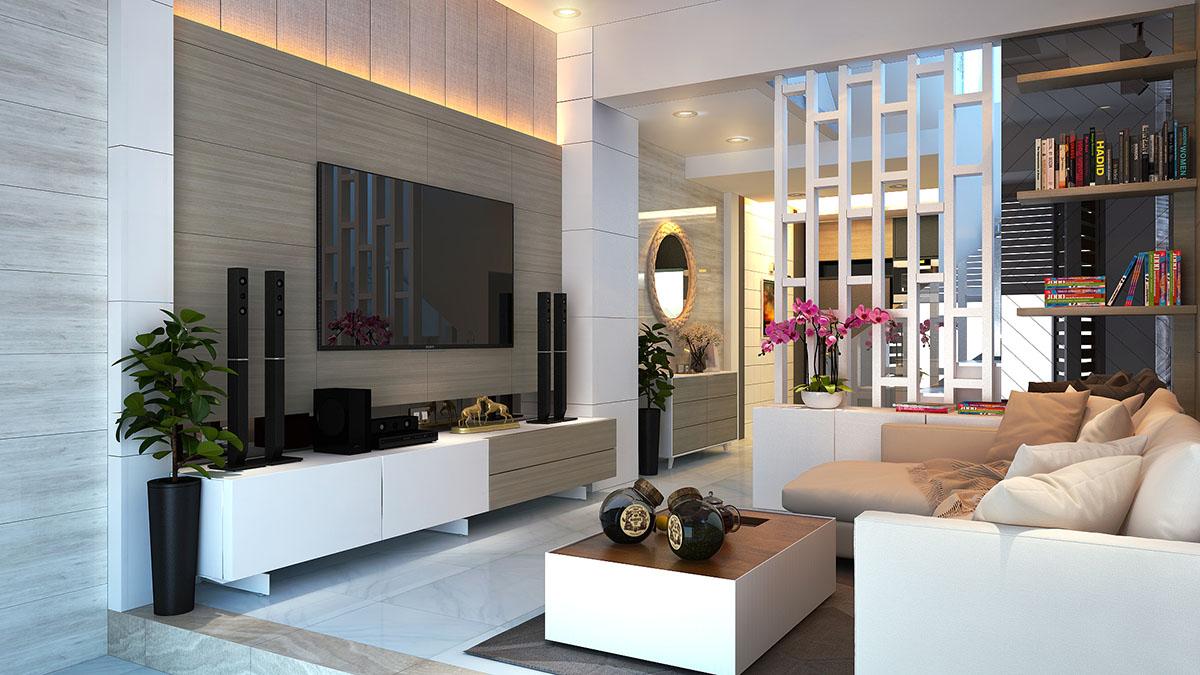 Mẫu thiết kế nội thất nhà ống 2 tầng hiện đại ở Bình Thạnh
