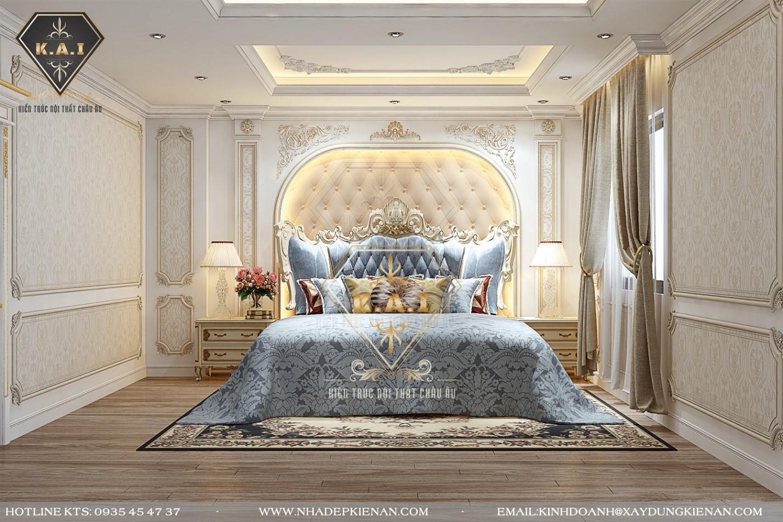 Phòng ngủ sử dụng nhiều đồ đạc nội thất có các thiết kế bề mặt vô cùng chi tiết, tỉ mỉ