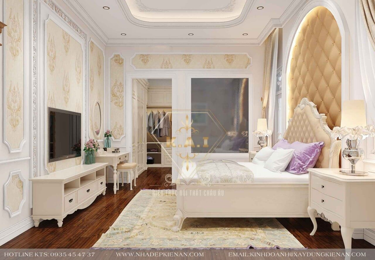 Giường ngủ và đồ nội thất được sắp xếp hợp lý để tiện nhất cho không gian sinh hoạt, giấc ngủ của chủ nhân.