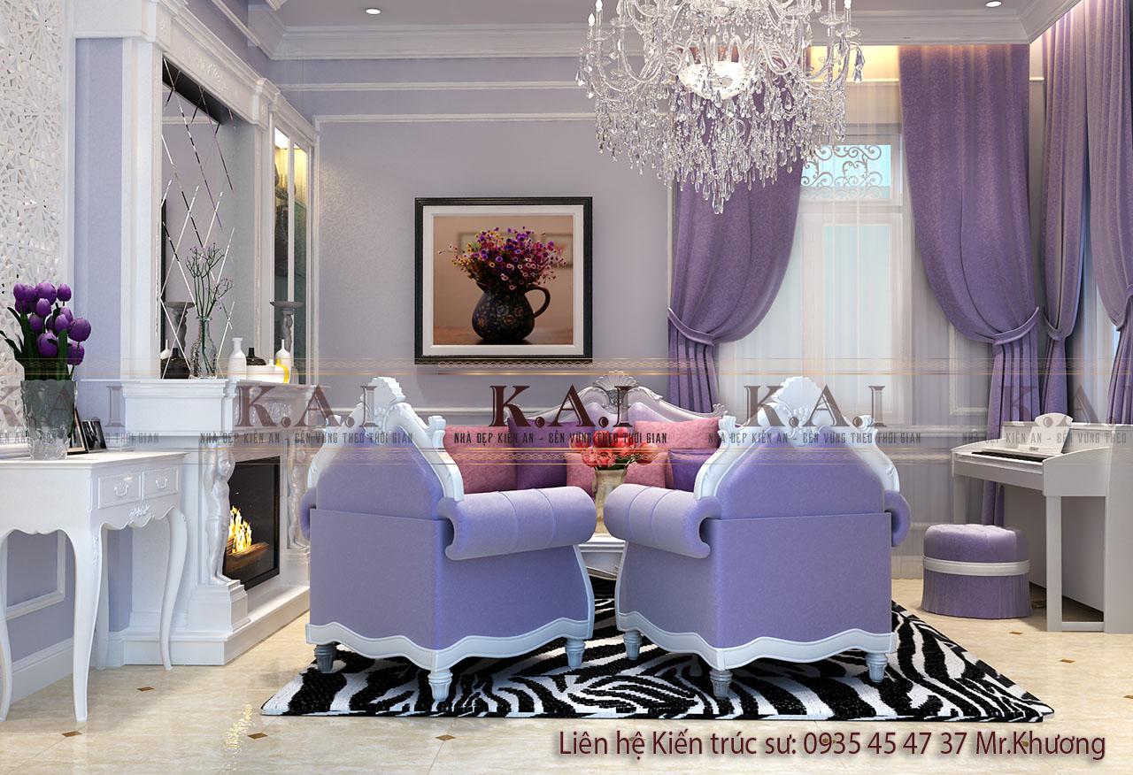 Thiết kế nội thất màu tím lavender