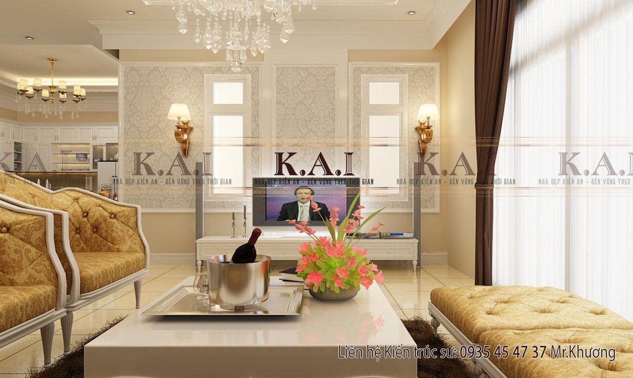 thiết kế nội thất phòng khách nhà biệt thự