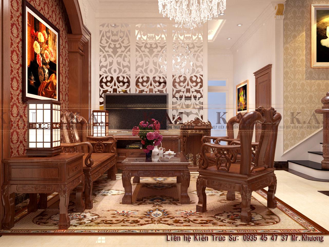 Mẫu thiết kế nội thất nhà tân cổ điển 3 tầng tại Tân Bình