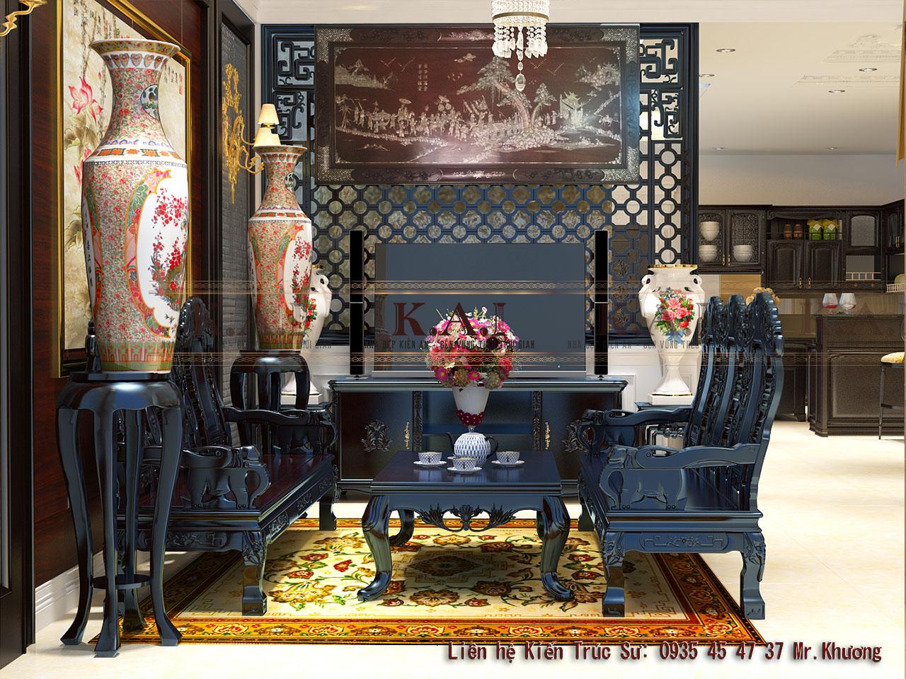 Trang trí nội thất gỗ sơn đen cho biệt thự tại Tiền Giang