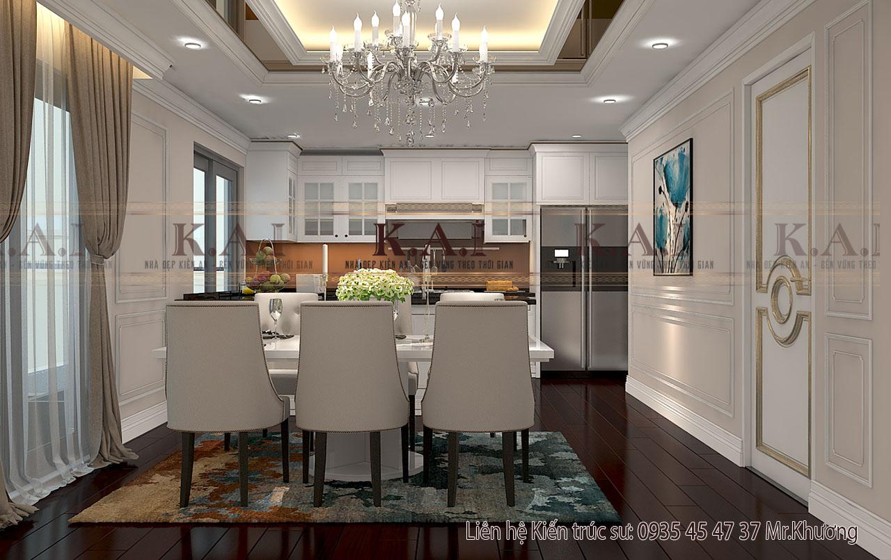 Phòng bếp với nội thất biệt thự sang trọng