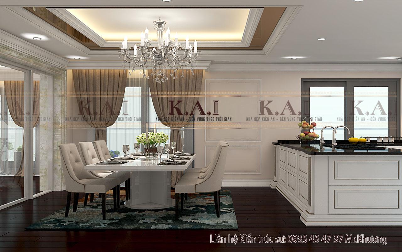 Phòng bếp được thiết kế sang trọng