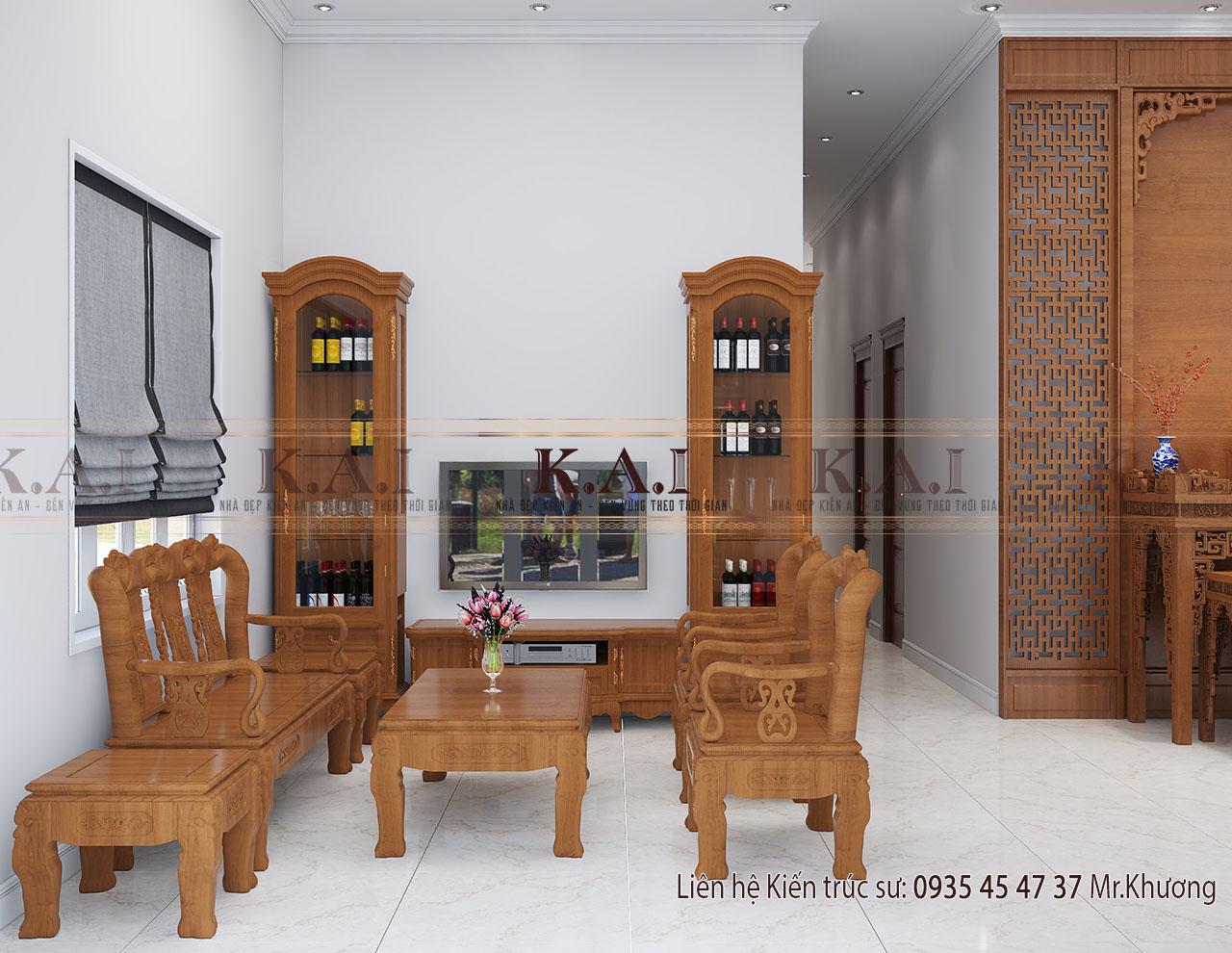 phòng khách thiết kế nội thất nhà mái thái
