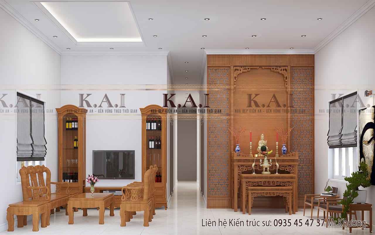 Thiết kế nội thất nhà 1 tầng mái thái sân vườn tại Long An