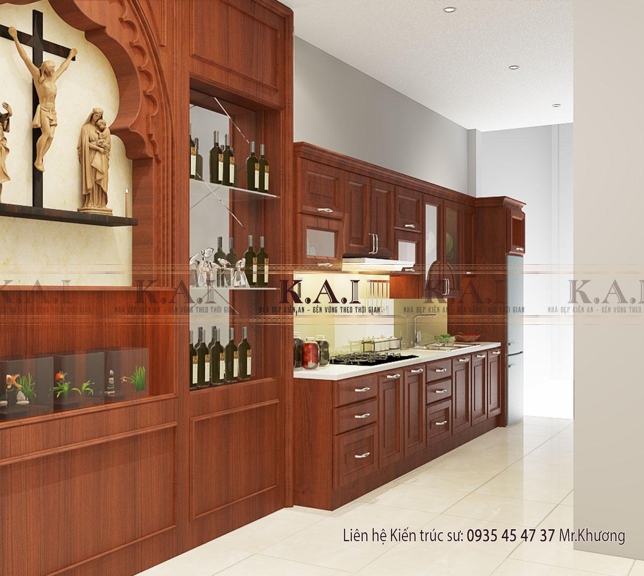 Thiết kế nội thất phòng bếp – ăn nhà 4 tầng