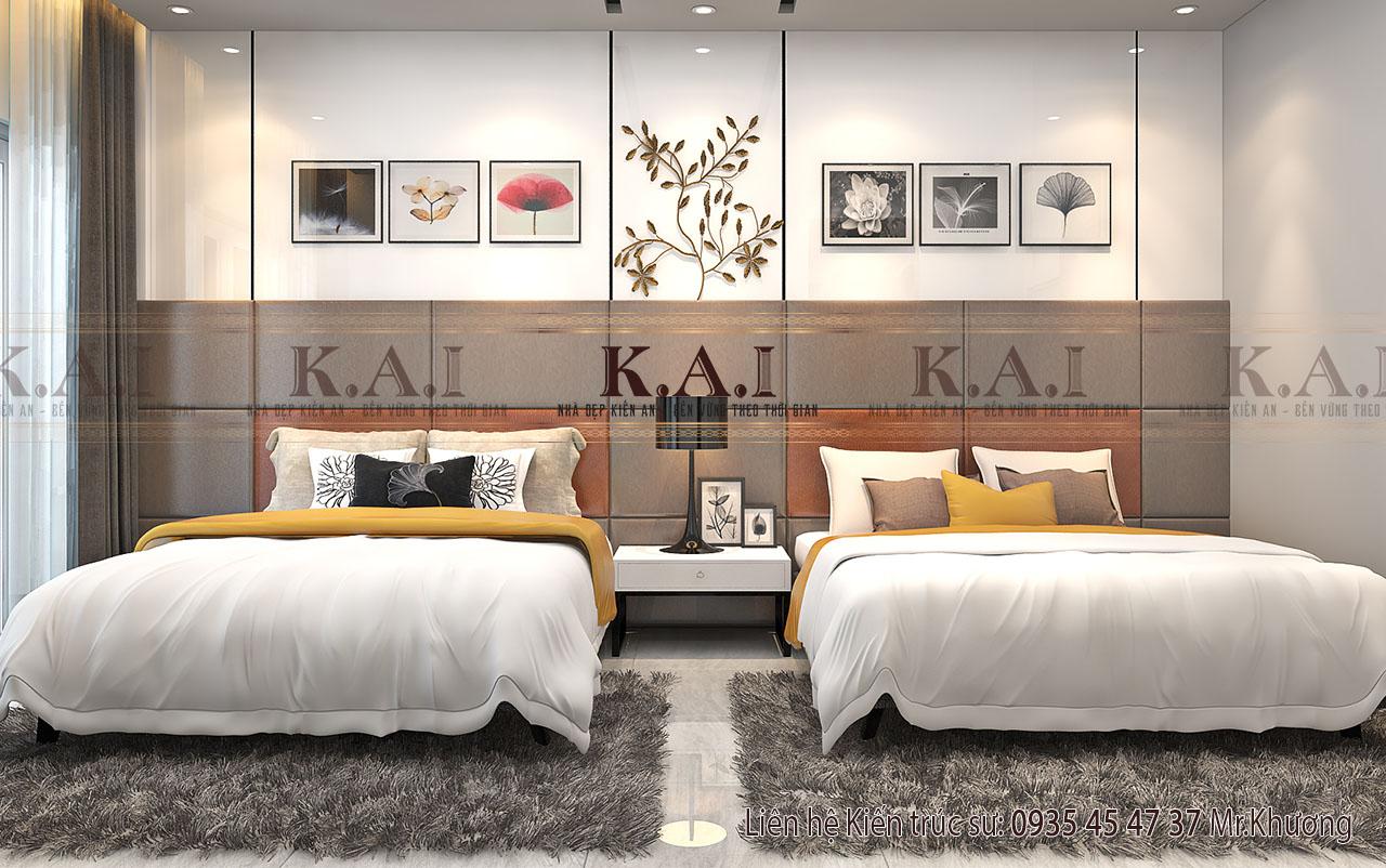 Thiết kế nội thất phòng ngủ 2 giường