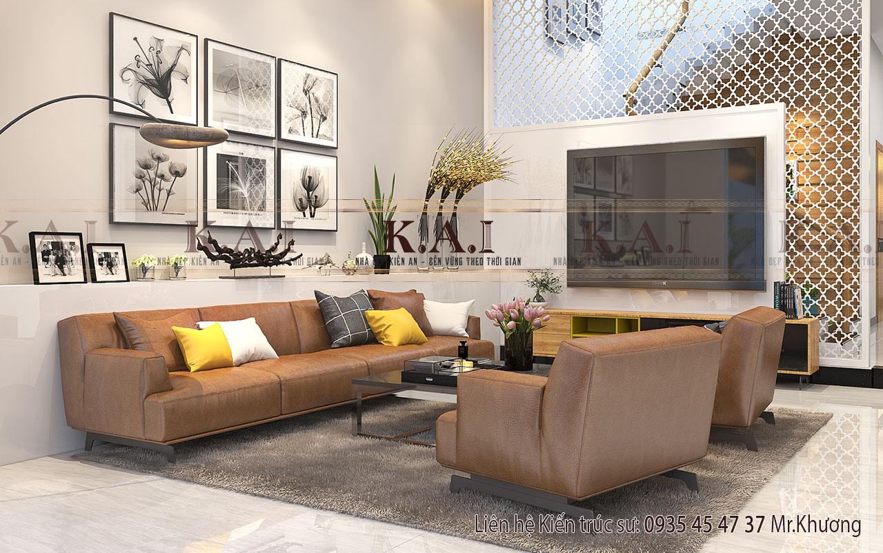 Thiết kế nội thất nhà ống mặt tiền 6m hiện đại tại Tây Ninh
