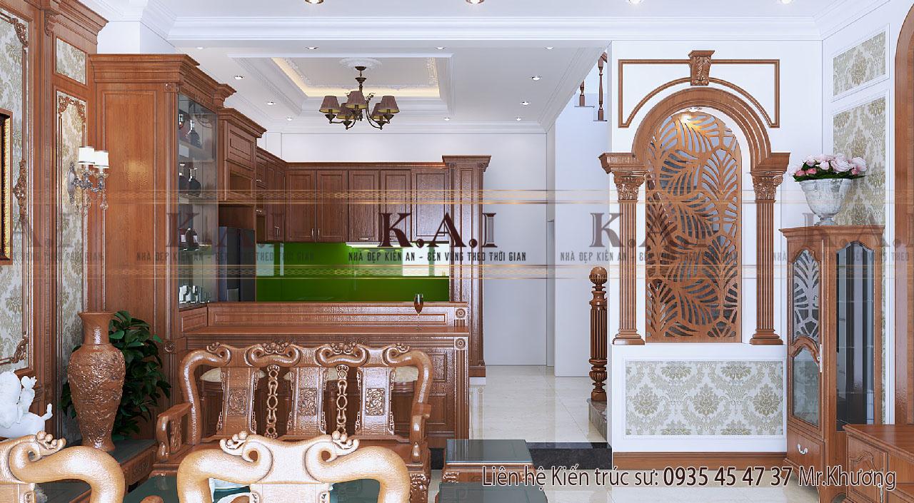 Thiết kế nội thất phòng khách gỗ