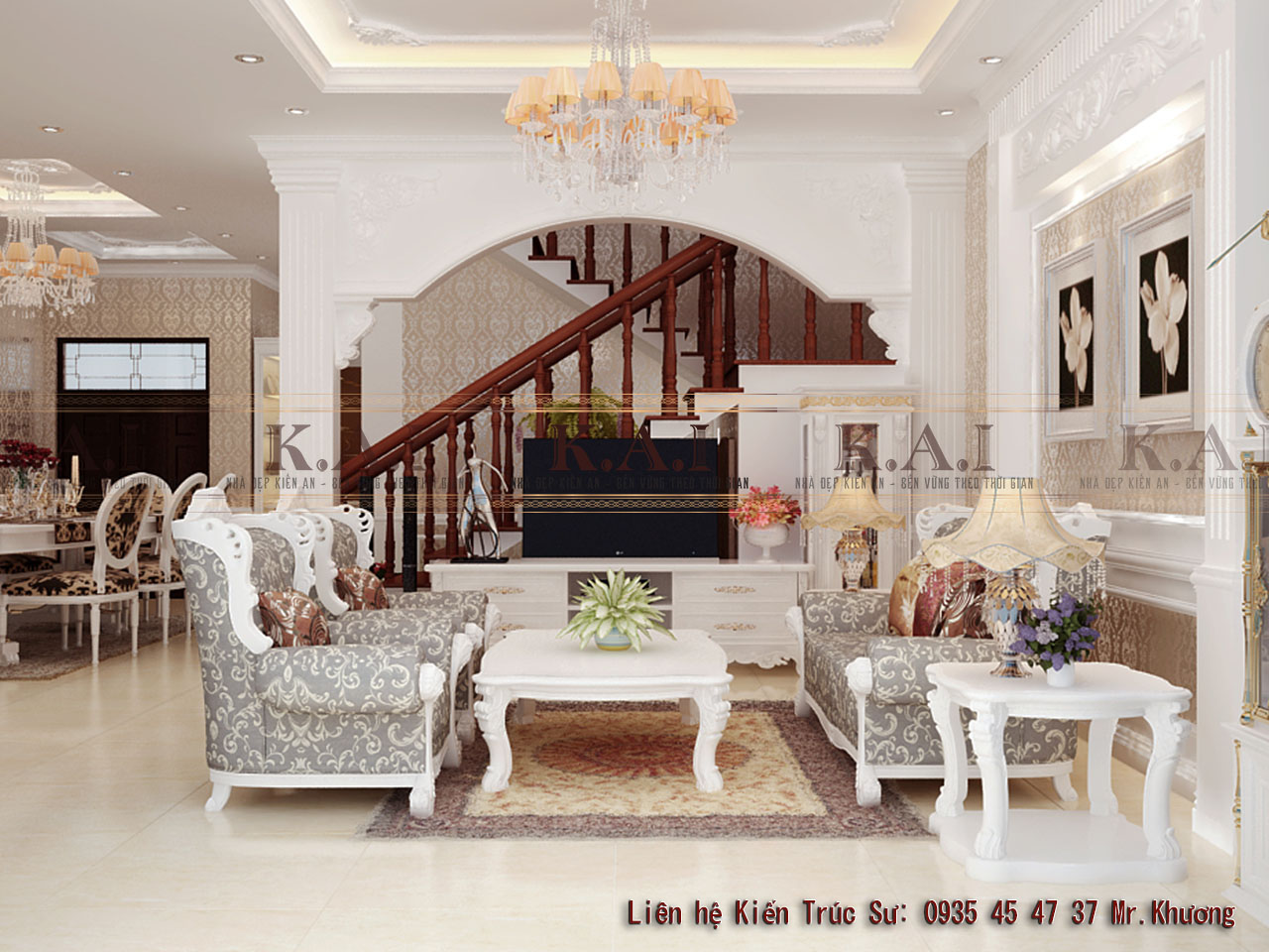 Mẫu thiết kế nội thất phong cách tân cổ điển tại Sài Gòn