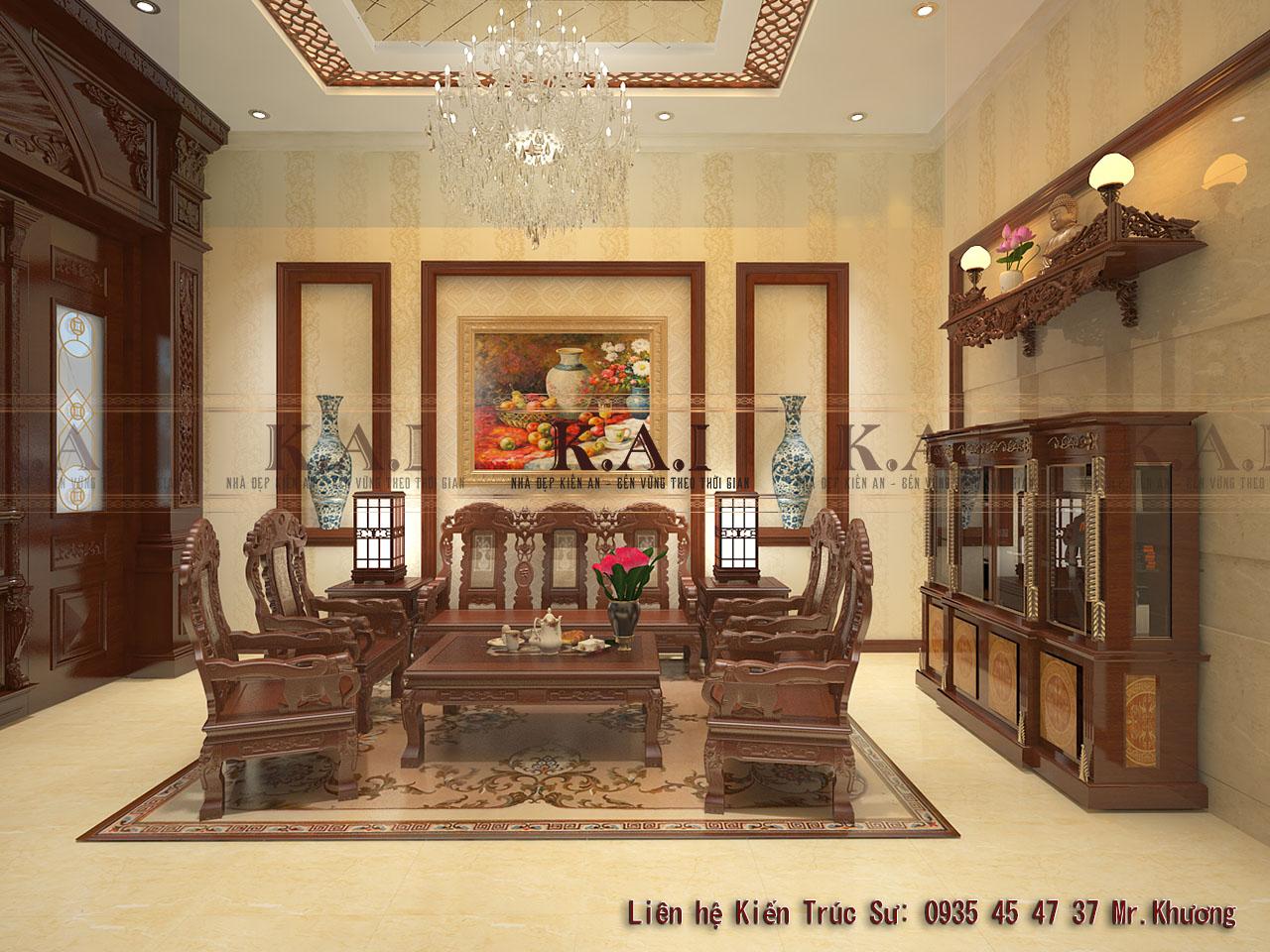 Trang trí nội thất bằng gỗ cho biệt thự trệt tại Tiền Giang